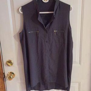 Grey button-up sleeveless blouse